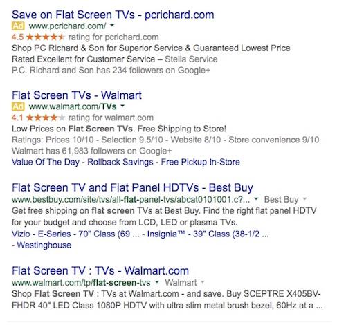 Adwords Examples - TVs