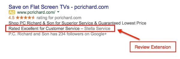 Adwords Review Extension Example