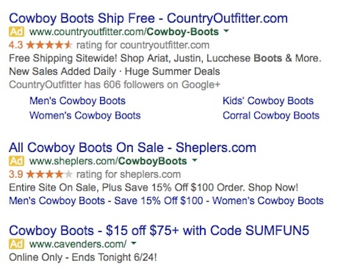 PPC Examples - cowboy boots
